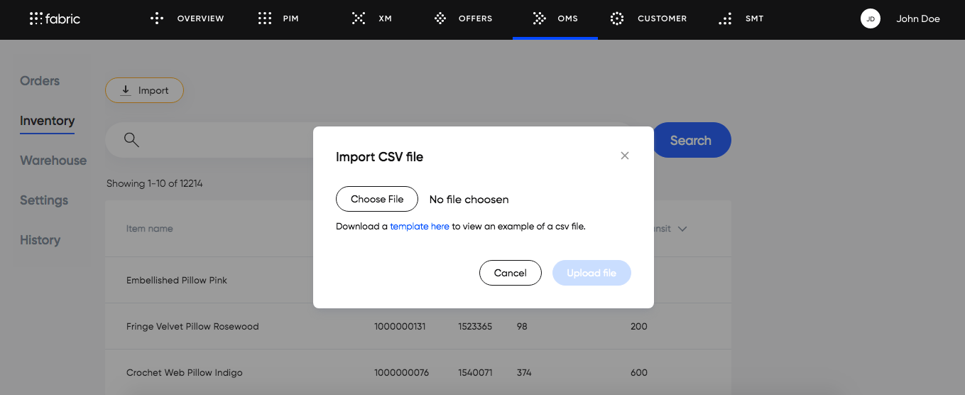 Inventory Import CSV file module