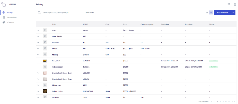 Pricing list view