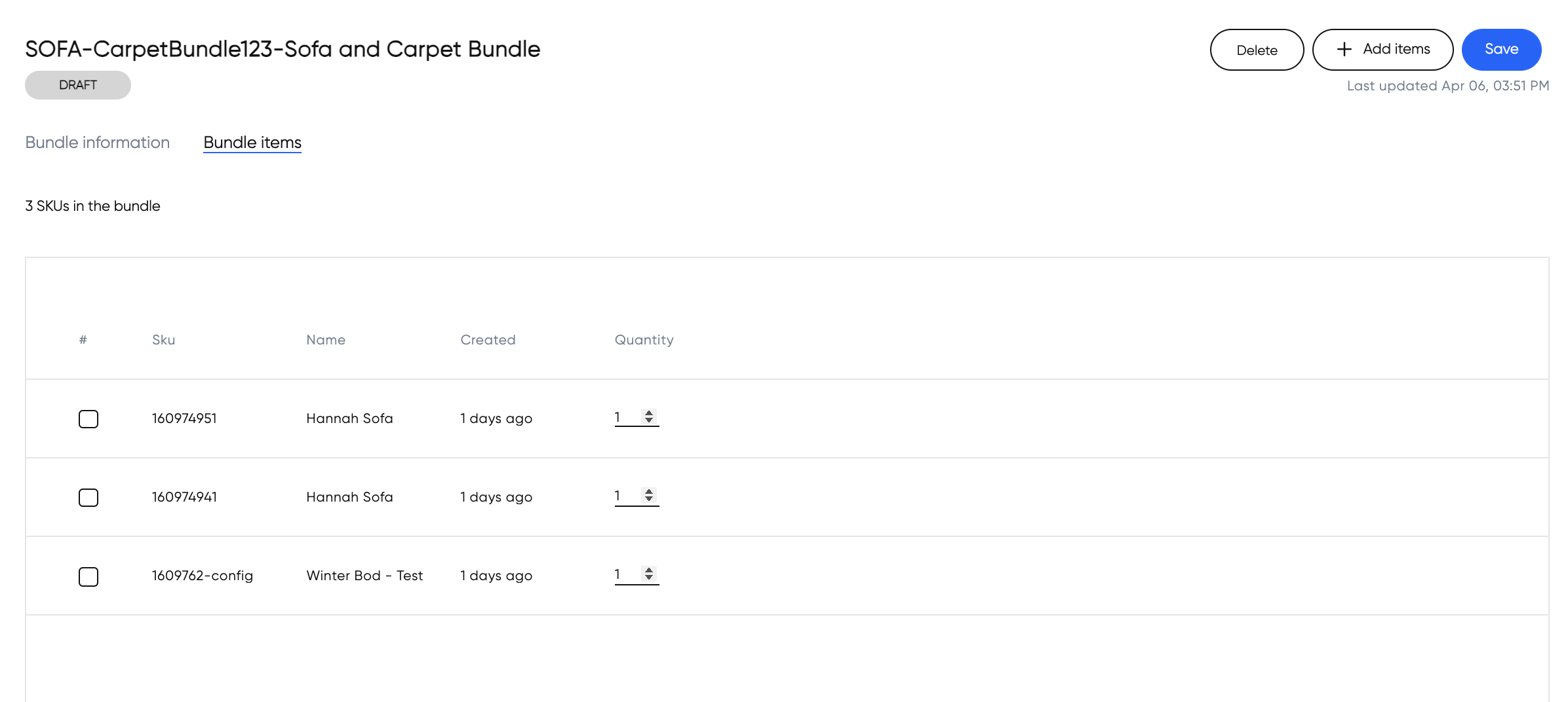 List of items added to a bundle