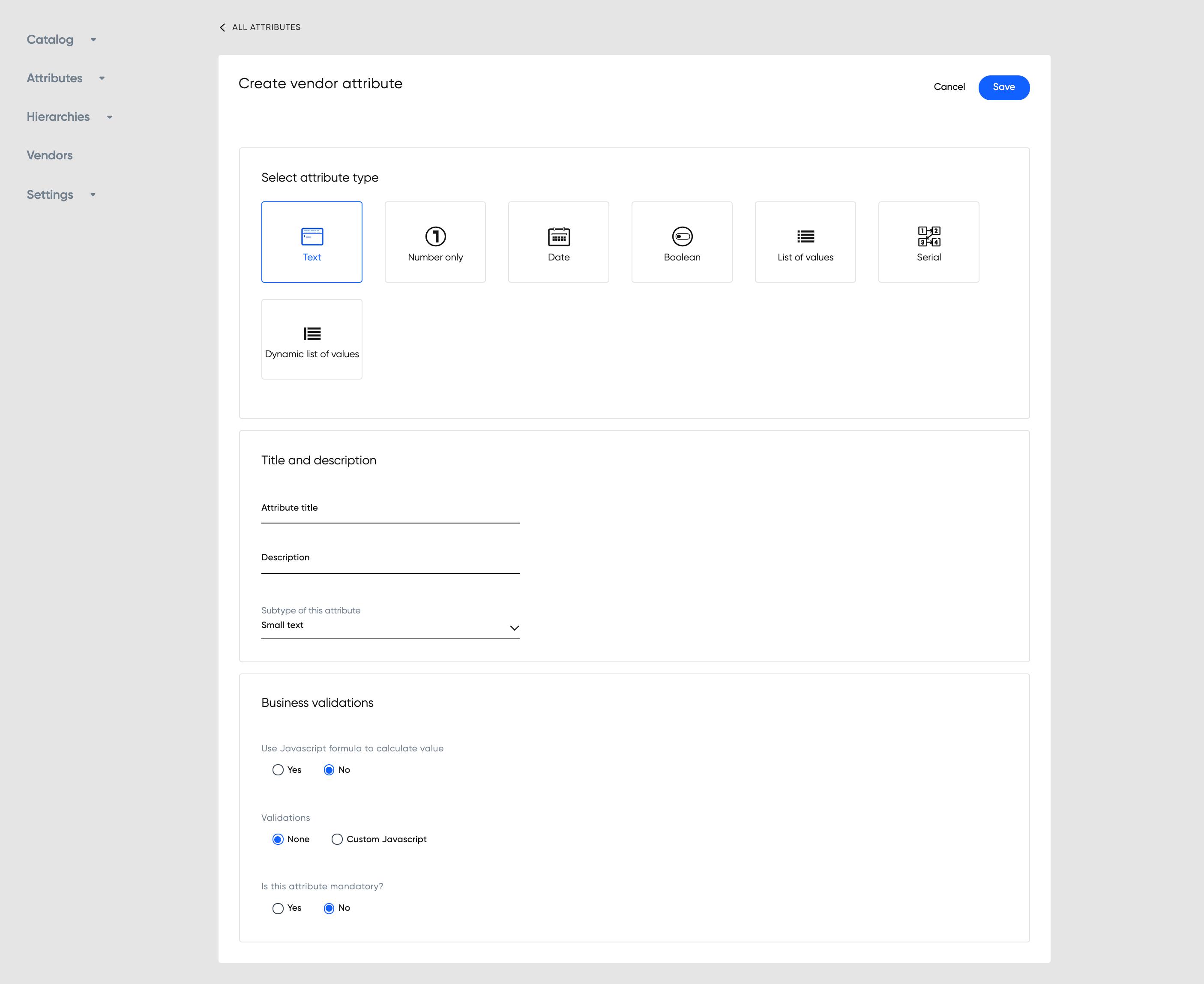 Create vendor attribute page